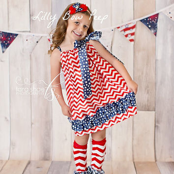 SET-4th Of July Dress-Headband-Legwarmers-USA Flag-Chevron-Baby Girl Clothes-Newborn-Infant-Child-Fourth Of July-Patriotic Pillowcase Dress