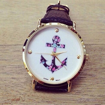 Women's Fashion Ladies Vintage Flower Watch Anchor Leather Quartz Watch Black (Size: 22 cm, Color: Black) = 1932399236