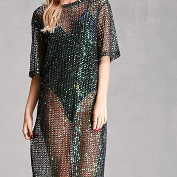 Rehab Sequined Open-Knit Dress