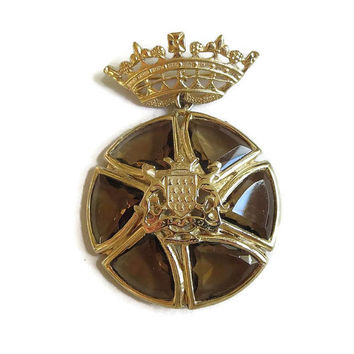 Vintage Dangle Brooch or Pendant with Amber Cut Glass, Crown and Heraldic Shield