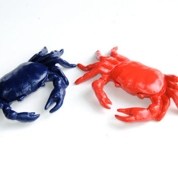 Cast Iron Crab - Nautical Table top Decor - Poppy Red - Navy Blue - Listing Is For 1 of the 2 Pictured Crabs TC6569