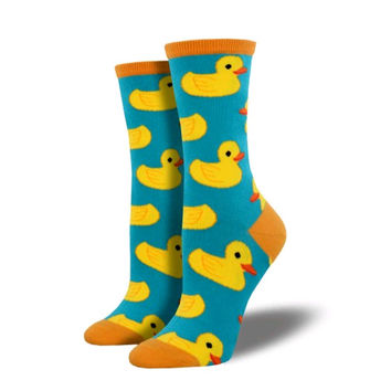 Novelty Socks RUBBER DUCKY TURQUOISE Fabric Cotton Crew Wnc709-Tur
