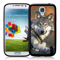 Gray Wolf - Protective Designer BLACK Case - Fits Samsung Galaxy S4 i9500