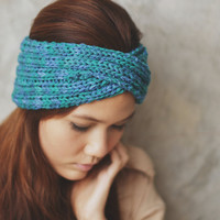 Knit Turban Headband - Peacock color