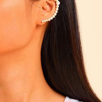 Faux Pearl Design Mismatched Earrings 1pair