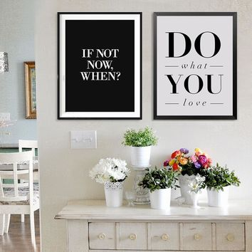 Do What You Love Inspirational Quote Canvas Painting Black and White Nordic Poster Print Wall Art Pictures Kids Room Home Decor