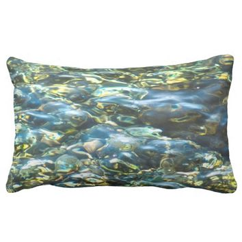 Waterworld blue green pillow. throw pillow