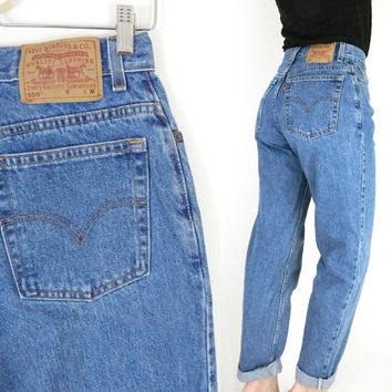 "Vintage Levi's 550 Size 10 High Waist Tapered Leg Jeans - Stone Washed Medium Blue Rinse Relaxed Baggy Women's Boyfriend Jeans - 30"" Waist"