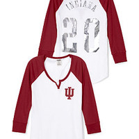 Indiana University Split-Neck Baseball Tee - PINK - Victoria's Secret