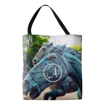 Blue horse statue photo custom monogram tote bag