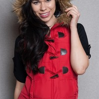 Love Tree Hooded Puffer Vest With Toggle Buttons & Faux Fur Trim - Red