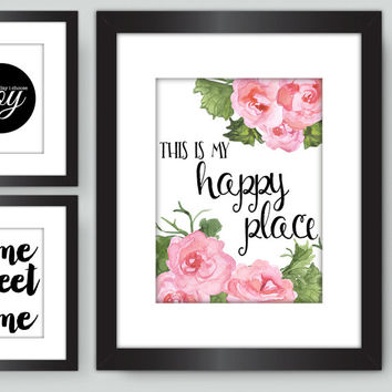 This is my happy place PRINT, Pink Begonia Watercolor Flower Print, Living Room Wall Art Decor, Pretty Plus Paper, 8x10 PHYSICAL PRINT