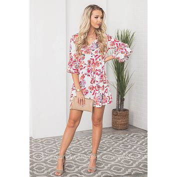 Double Flutter Floral Pocketed Dress