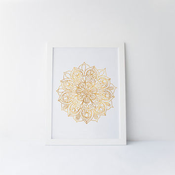 Faux Gold Foil Abstract Design, Mandala Art, Henna Art, Mehndi Wall Art, Gold Foil Art, Gold Foil Printable, Black and Gold, Printable Art