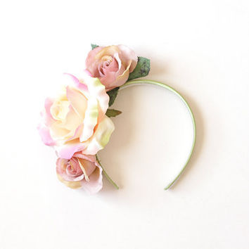 asymmetrical rose headband - wedding headpiece, garden party, spring racing carnival hair accessory, bridal, romantic, winter blue purple.