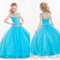 2016 Pageant Dresses for Little Girls Sky Blue Sheer O-Neck Ball Gown Tulle Evening Gowns Zipper Girls Pageant Dresses Sh0082