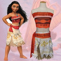 NEW anime Moana cosplay clothing adult & girls kids Hawaiian hula dance Halloween Moana children costume set