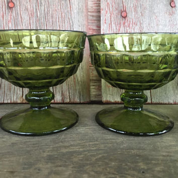 5 vintage avocado dessert glass, vintage sherbet glasses, green Indiana WHITEHALL low champagne goblets, vintage glassware, bar cart serving