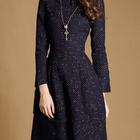 Navy Stand Collar Long Sleeve Dress