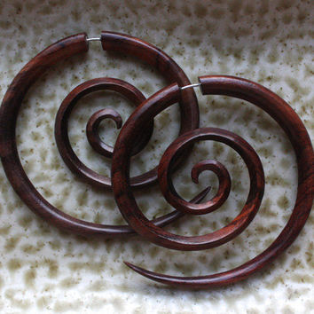 TRIPPI Fake Gauges - XL Hand Carved Spiral Earrings - Natural Brown Sono Wood - Tribal Hoops