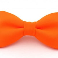 Neon Orange Clip On Bow Tie