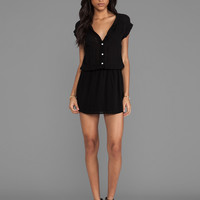 MONROW Basic Blouse Dress in Black