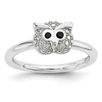 Sterling Silver & Black Onyx 7mm Owl Stackable Expressions Ring