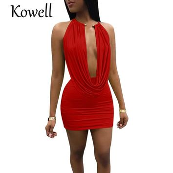 2018 New Fashion Neck Backless Sequin Sexy Women Party Dress Two Piece Robe Bandage Bodycon Tunic Deep V-Neck Draped Dress