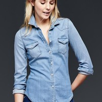 Gap Women 1969 Denim Bleached Western Shirt