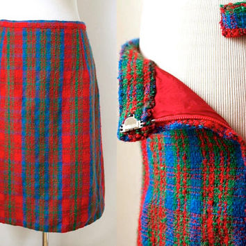 Vintage Boucle Tweed Skirt - Bright Red And Blue Wool - Preppy Vintage Skirt - Pencil Skirt - Autumn Winter Skirt