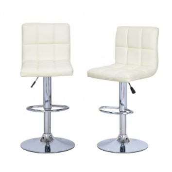 Adeco Cream Leatherette Faux Tufted Adjustable Barstool Chair Chrome Finish Pedestal Base (Set of two)