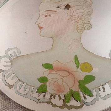 1930's Hand Painted Mirror - American Beauty mirror -  rare decorative mirror - Art Deco - home decor - vintage decor - portrait - roses