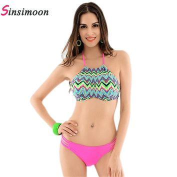 High Neck Zigzag Striped Drawing String Sexy Padded Bodysuit Geometric Bathing Suits Hollow Push Up Bikinis