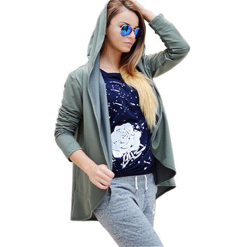 Autumn Fashion Womens Hoody Asymmetric Cape Hooded Sweatshirt 4 Colors Long Sleeve Women Sweatshirts Hoodies Plus Size GV303