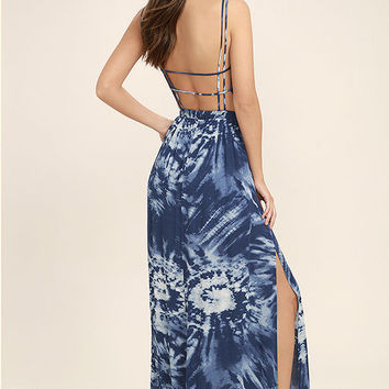 Live in Harmony Blue Tie-Dye Maxi Dress