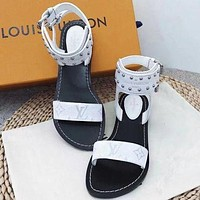 LV Slipper Women Sandals ''Louis Vuitton'' Slippers LV Fashionable casual Shoes BB-ALS-XZ White