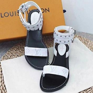 LV Louis Vuitton Popular Summer Women Casual Flat Bottom High Boots Sandal Slipper Shoes