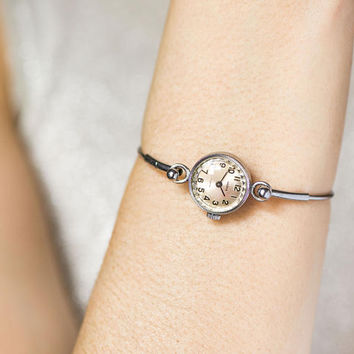 Tiny women's watch bracelet Seagull, round cocktail watch, silver shade girl's watch bracelet, women's watch petite, delicate watch gift