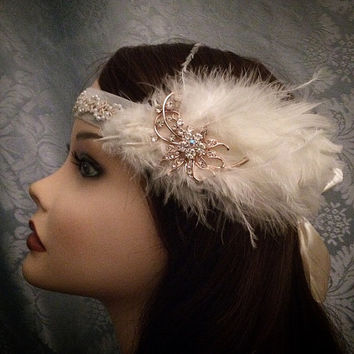 1920 style Gold Rhinestone Brooch Pearl Trim Art Deco Flapper Gatsby inspired Feather flapper Headband Velvet Head 1920s 20s roaring style