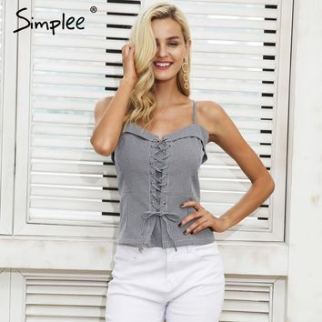 Casual lace up strap camisole tank top Backless zipper elastic cropped plaid cami