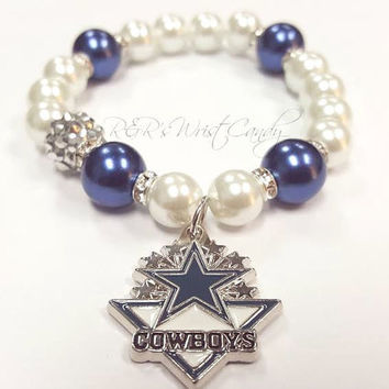 Dallas Cowboys Beaded Bracelet, NFL Football Bracelets, Team Spirit, Blue and White, Stretchy Bracelets, Womens, Handmande Custom Jewelry