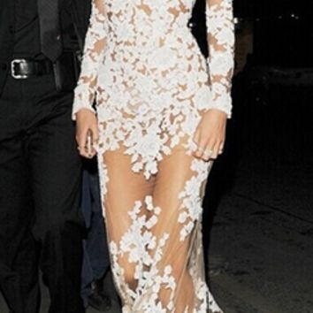 White Beige Sheer Mesh Lace Long Sleeve Deep V Neck Maxi Dress Gown - Inspired by Candice Swanepoel