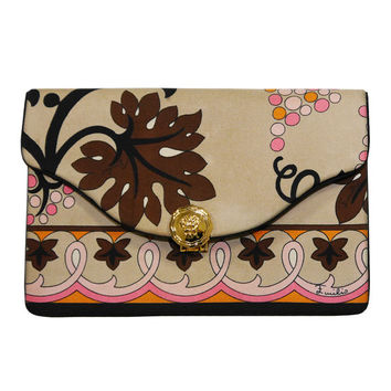 EMILIO PUCCI 1960s Vintage Silk Clutch Evening Bag Signature Print