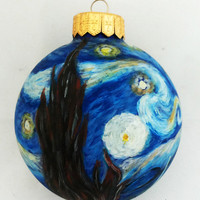 Starry Night Christmas Ornament Christmas ball Painted Bauble Glass New year Christmas Craft Van Gogh Doctor Who BBC fan geek Unique
