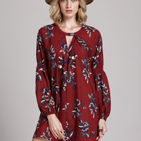 Wine Red Floral Print Long Sleeve Dress | MakeMeChic.COM