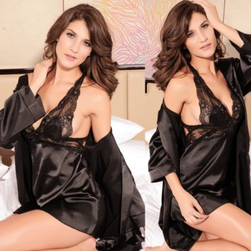 Sexy 2 Piece Nightgown Lingerie Black