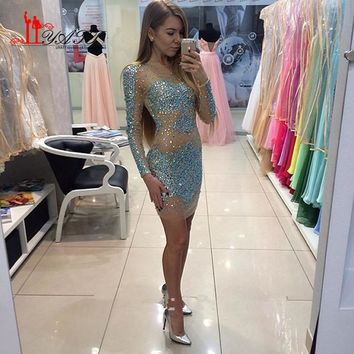 Turquoise Beaded Crystal Nude Tulle Short Cocktail Dresses 2017 Long Sleeves Party Evening Prom Pageant Gowns
