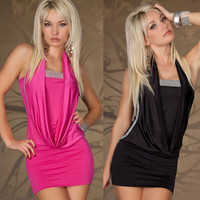 N-206 2014 New Sexy Night Club Cosplay clothing women fashion sleeveless dress Black Rose free shipping