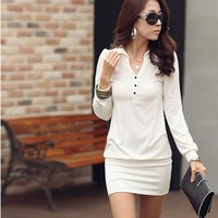 New OL Lady Women Lapel V-neck Henley Long Sleeve Solid Career Mini Dress