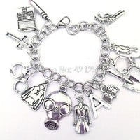 6pcs Pretty Little Liars Ultimate Charm Bracelet  Pretty Little Liars Jewelry  PLL Inspired Jewelry in silver adjustable